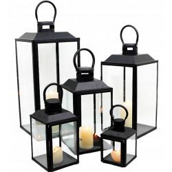 Lampiony czarne zestaw 5 sztuk