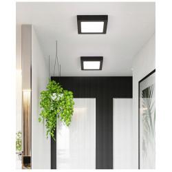 Panel LED natynkowy kwadratowy czarna rama 18W