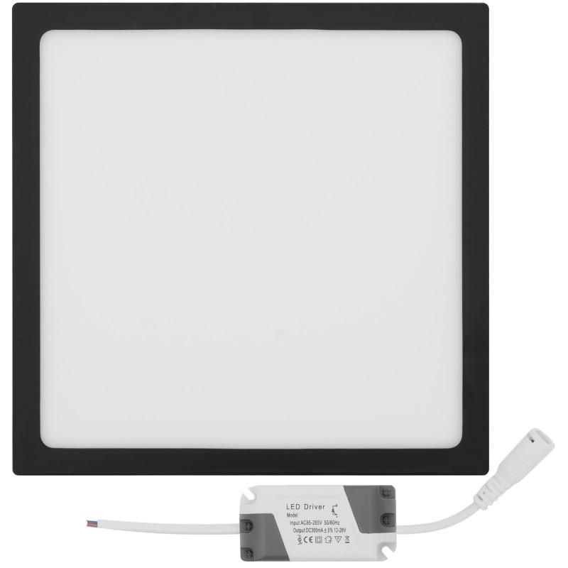 Panel LED natynkowy kwadratowy czarna rama 24W