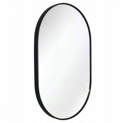 Owalne lustro z czarną ramą