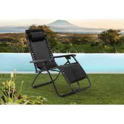 Leżak ogrodowy plażowy grawitacyjny czarny