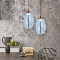 Lampa LED Szklana Niebieska Sznur