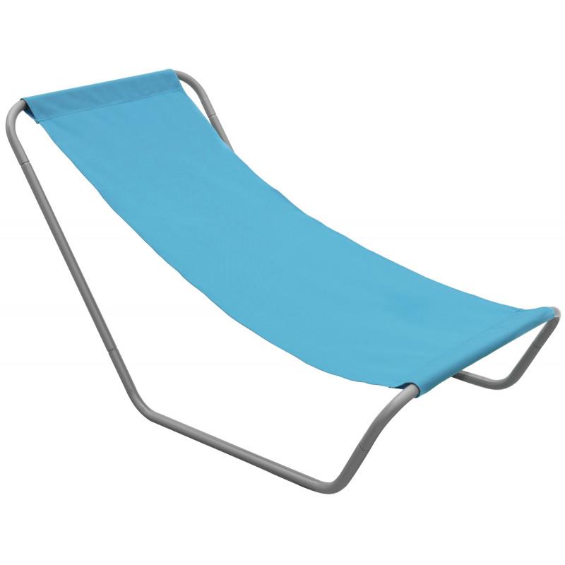 Leżak turystyczny składany niebieski + pokrowiec