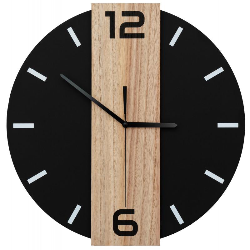 Okrągły zegar ścienny metal+drewno loft 35 cm