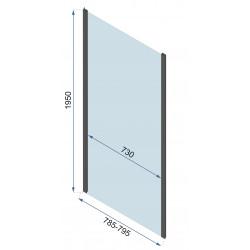 Kabina Prysznicowa Przyścienna Czarna Rapid Swing 2x Ścianka stała 80cm Drzwi 70-150 cm