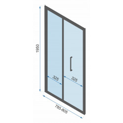 Kabina Prysznicowa Przyścienna Czarna Rapid Fold 2x Ścianka stała 80cm Drzwi 80-100 cm