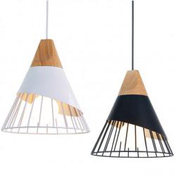 Lampa Wisząca Czarna + Drewno