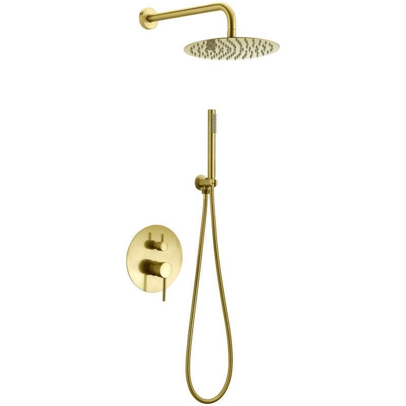 Zestaw prysznicowy Lungo Złoty podtynkowy + Box