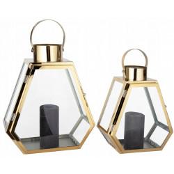 Lampiony Złote zestaw 2 sztuk