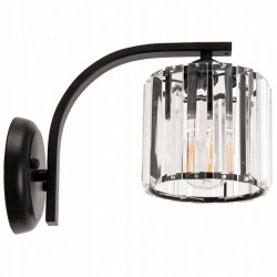 Lampa Kinkiet Kryształowy APP512-1W Czarny Toolight