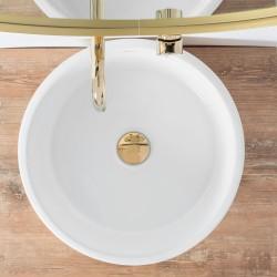 Umywalka Ceramiczna Nablatowa Helen Złoto Biała