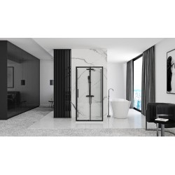 Kabina Prysznicowa Przyścienna Czarna Rapid Slide 2x Ścianka stała 90cm Drzwi 100-160 cm