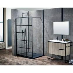 Ścianka prysznicowa Czarna Kratka Soleo 110x195 Calani
