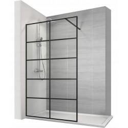 Ścianka prysznicowa Czarna Kratka Soleo 90x195 Calani