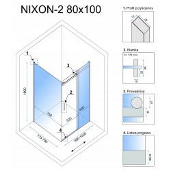 Kabina prysznicowa Rea Nixon 80x120 CM