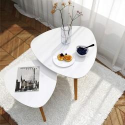 Stolik Kawowy Biały Skandynawski RETRO 2 SZT