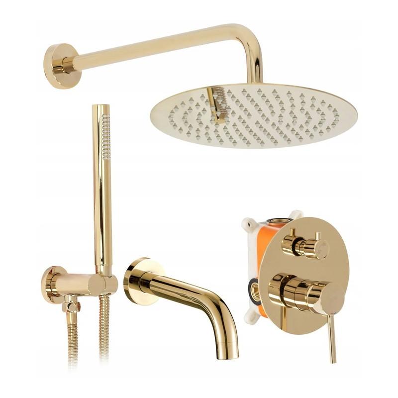 Zestaw prysznicowo wannowy Lungo Gold podtynkowy + Box Rea