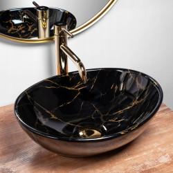 Umywalka Nablatowa Sofia Black Marble Rea