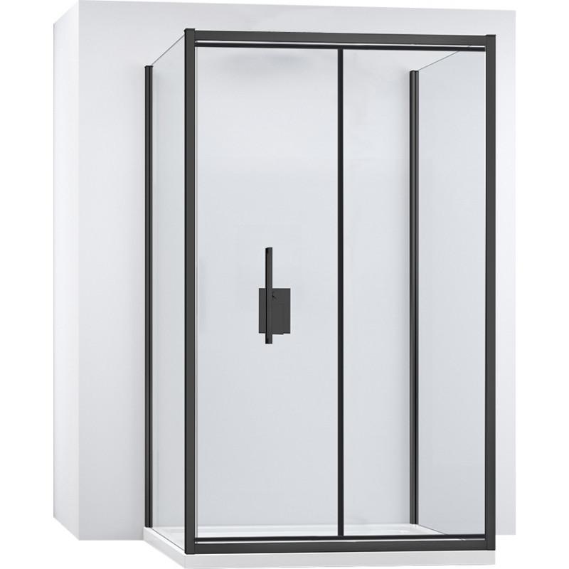 Kabina Prysznicowa Przyścienna Czarna Rapid Fold 80x90 cm