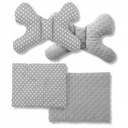 Kokon Niemowlęcy + Poduszka Motylek Kocyk Minky zestaw 5w1 - White Fox
