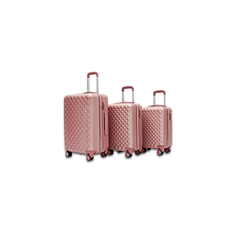 982fb5709bbac Duża podróżna bagażowa walizka solid 24/65l - rose gold