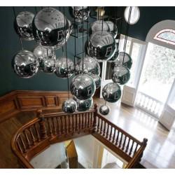 Lampa sufitowa żyrandol kula chrom szkło 3x20cm