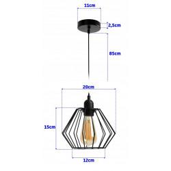 Lampa sufitowa wisząca pojedyncza loft siena e27