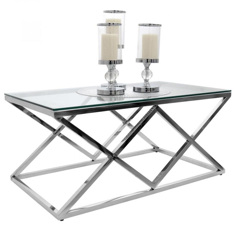 Stolik Kawowy Chrom Stal Szkło 120x60 Modern Design
