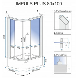 Kabina prysznicowa Impuls Plus 80x100 Transparent